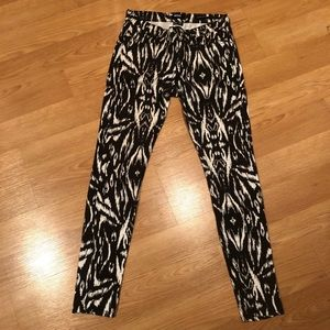 Black and Off White Print Jeans